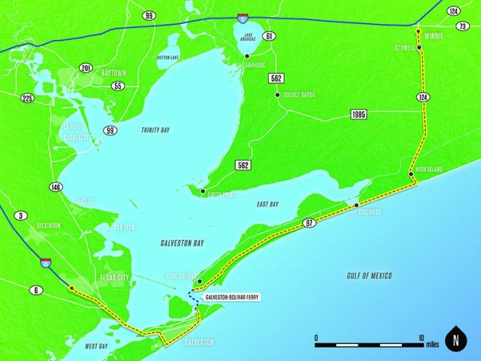 Map - Texas City to Winnie