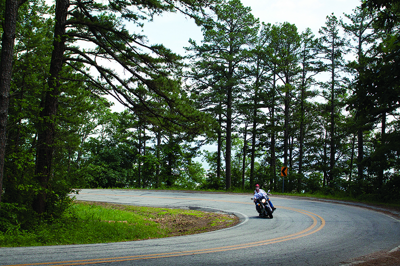 Enjoying a Mount Magazine road.  Photo by Miguel F. Asensio