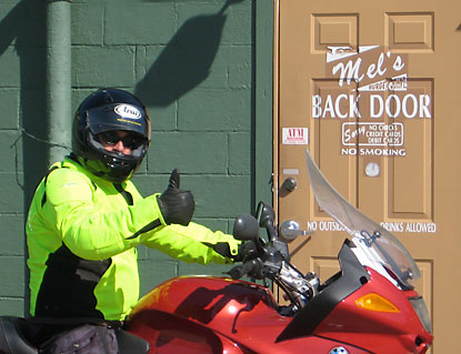 Motorbike Mike McMahan ready for his 10 BEST Burger Quest
